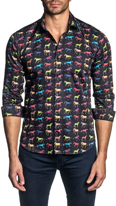 Jared Lang Men's Multicolor Horse-Print Sport Shirt