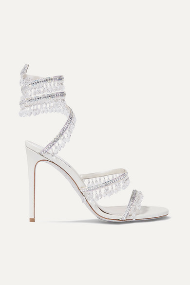 Rene Caovilla Cleo Embellished Metallic Satin And Leather Sandals - Silver