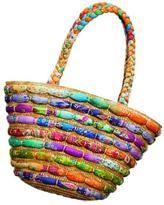 Dorfman Pacific Cappelli Womwn's Multi-color Straw/ Fabric Trim Tote Bag