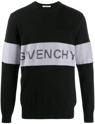 Givenchy contrasting logo band sweater black