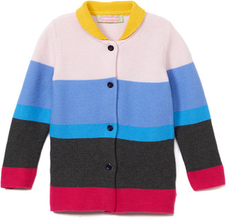 SAM. Sophie & Girls' Non-Denim Casual Jackets Multi - Pink & Yellow Color Block Jacket - Infant & Toddler
