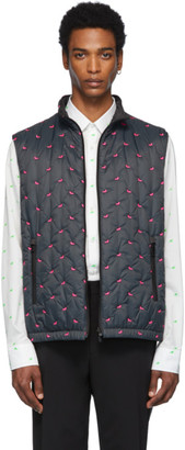 Fendi Reversible Grey and Pink Quilted Bag Bugs Vest