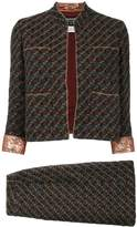 Chanel Pre Owned 1996s collarless front opening tweed set up suit jacket skirt