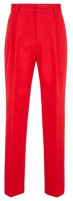 HUGO BOSS Relaxed Fit Pleated Pants In Stretch Cotton - Red