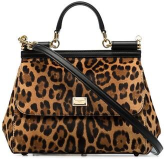 Dolce & Gabbana medium Sicily leopard-print tote