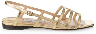 Jimmy Choo Arien Flat Metallic Leather Sandals