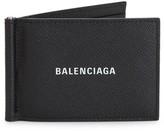 Balenciaga Logo Pebbled-Leather Money Clip Wallet