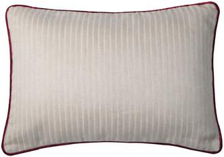 Bivain Cream Linen Rectangular Cushion With Berry Velvet Piping