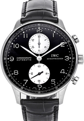 IWC Black Stainless Steel Portuguese Chronograph IW3714-04 Men's Wristwatch 40 MM