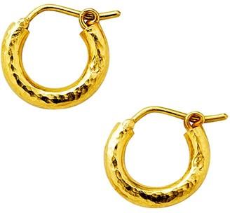 Elizabeth Locke Gold Hammered 19K Yellow Gold Baby Hoop Earrings