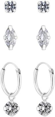 Simply Silver Pack of Three Marquise Stud and Charmed Hoop Earrings