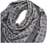 Louis Vuitton ChAle Monogram Black Silk Scarves