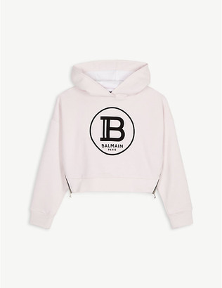 Balmain Logo cotton-jersey cropped hoody 4-16 years