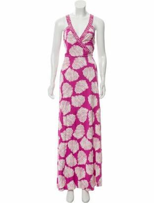Diane von Furstenberg Silk Maxi Wrap Dress Magenta