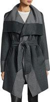 Diane von Furstenberg Mackenzie Wool-Blend Colorblock Wrap Coat, Charcoal/Gray