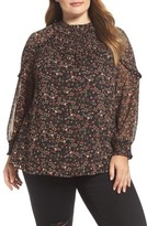 Daniel Rainn Plus Size Women's Ruffle Trim Metallic Floral Blouse
