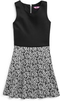 Aqua Girls' Sleeveless Dress with Floral Skirt - Sizes S-XL