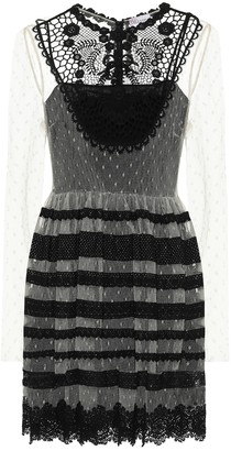 RED Valentino lace-trimmed point-d'esprit tulle minidress