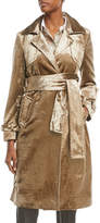 Brunello Cucinelli Notched-Collar Belted Velvet Trench Coat