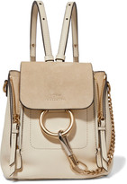 Chloé Faye Mini Leather And Suede Backpack - Ivory