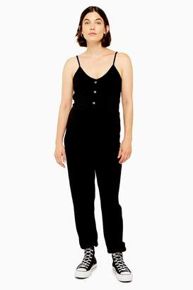 Topshop Womens **Maternity Ribbed Button Jumpsuit - Black