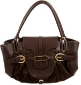 Jimmy Choo Leather-Trimmed Suede Bag
