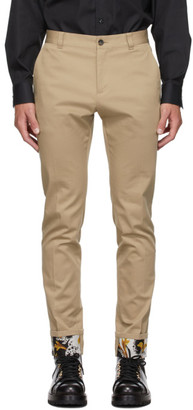 Versace Beige Barocco Cuff Trousers
