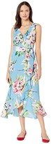 Vince Camuto V-Neck Dress with Ruffle Details (Blue Multi) Women's Dress