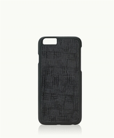 GiGi New York iPhone 6/6s Hard-Shell Case Black Embossed Plaid Leather
