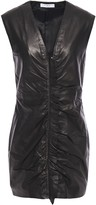 IRO Ruffle-trimmed Ruched Leather Mini Dress