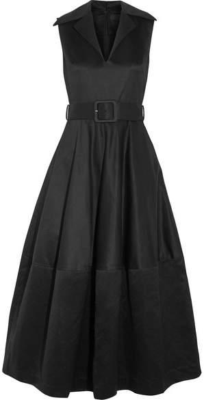 Co Belted Cotton-sateen Midi Dress - Black