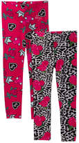 Betsey Johnson Roses and Snow Leopard & XOX Queen Print Leggings - Set of 2 (Little Girls)