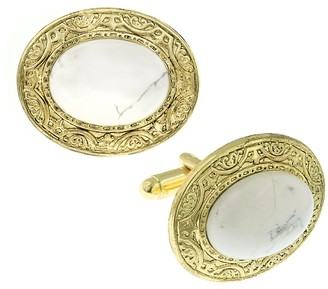 1928 Jewelry Gold-Tone Semi-Precious White Howlite Oval Cuff Links