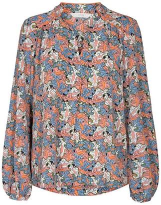 Nümph Nubegonia Blue, Pink and White Organic Print Blouse - 34 | pink | Blue & Pink | viscose - Pink/Pink