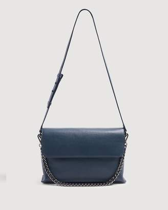 7 For All Mankind Leather Shoulder Bag in Navy