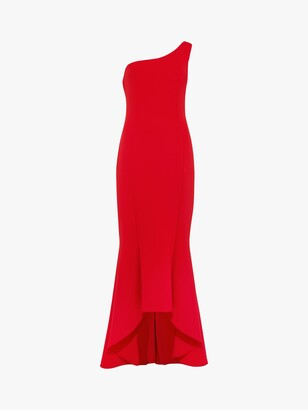 Phase Eight Dahlia One Shoulder Fishtail Hem Dress, Scarlet