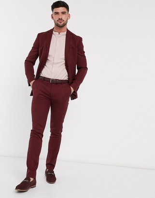 Topman skinny fit suit pants in burgundy