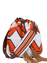 Sara Battaglia Handstitched Leather Tassel Bucket Bag