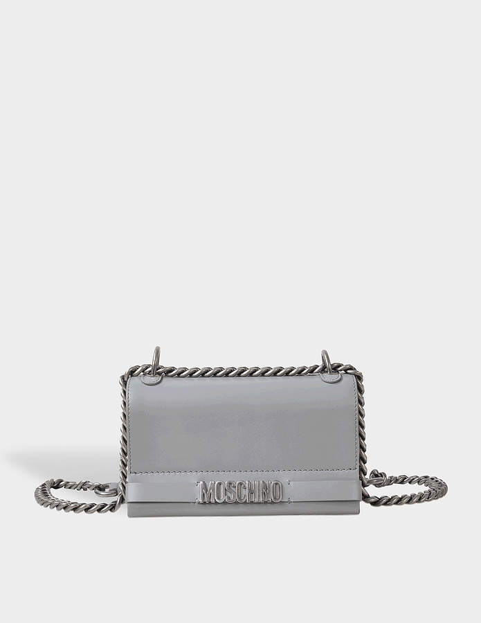 Moschino Lettering Nickel Logo Flap Crossbody