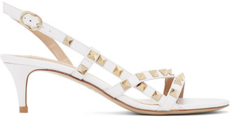 Valentino White Garavani Rockstud Slingback Sandals