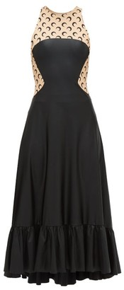 Marine Serre Crescent-moon Print Sleeveless Dress - Womens - Black Beige