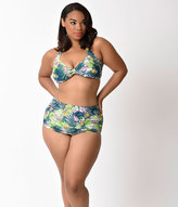 Esther Williams Plus Size Retro Style Green Paradiso Swim Bottom