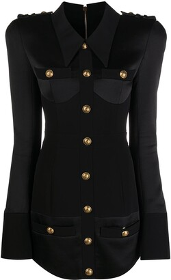Balmain Corset-Effect Mini Shirt Dress