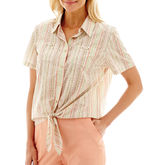 Alfred Dunner Key Largo Short-Sleeve Burnout-Stripe Tie-Waist Top