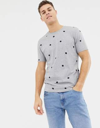 Asos Design DESIGN relaxed t-shirt with polka dot print-Gray