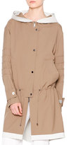 Callens Waterproof Hooded Drawstring Coat, Almond/Chalk