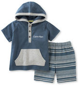 Calvin Klein Two-Piece Hooded Top and Striped Shorts Set