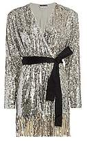 Rotate by Birger Christensen Women's Samantha Sequin Fringe A-Line Wrap Dress