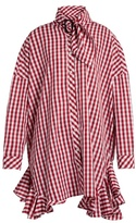 House of Holland Ruffle-trimmed gingham shirtdress