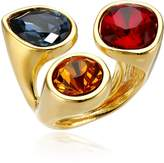 Kenneth Jay Lane Gold-Plated and -Dark Gem Cluster Adjustable Ring, Size 5-7
